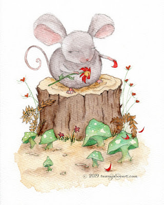 Cute Mouse Watercolor Valentine Card Design Illustration by Tawnya Boe