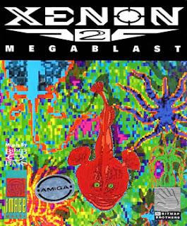 Cubierta del videojuego de Bitmap Brothers, Xenon II Megablast, 1989, para Commodore Amiga