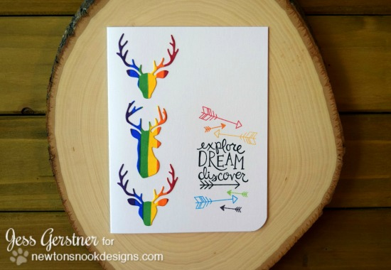 Rainbow deer card by Jess Gerstner | Splendid Stag and Points & Plumes die sets by Newton's Nook Designs #newtonsnook