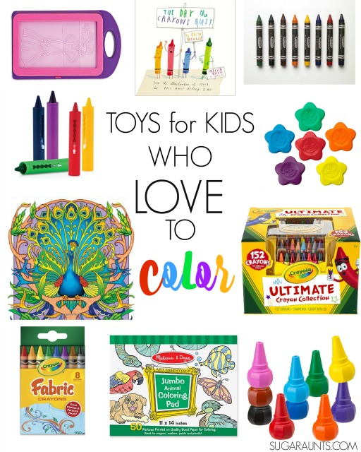 Toys and tools for kids who love to color and ways to incorporate coloring into kids daily lives to work on so many functional skills like fine motor, grasp, visual perceptual.