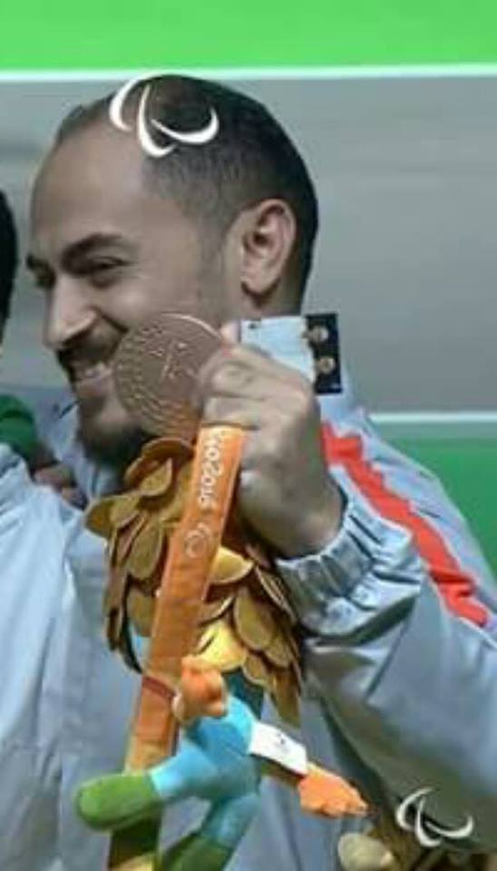 """البطل البارالمبى """"شعبان الدسوقى"""" يحصد الميداليه الثالثه لمصر بإحرازه البرونزية الأولي فى منافسات رفع الأثقال ببارالمبياد ريو"""
