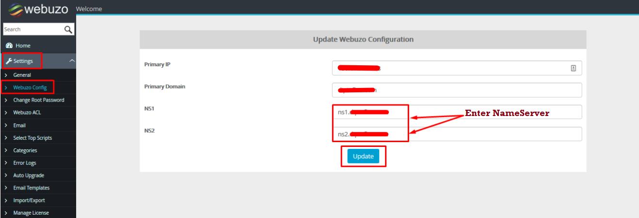 Enter Name Server WebuZo