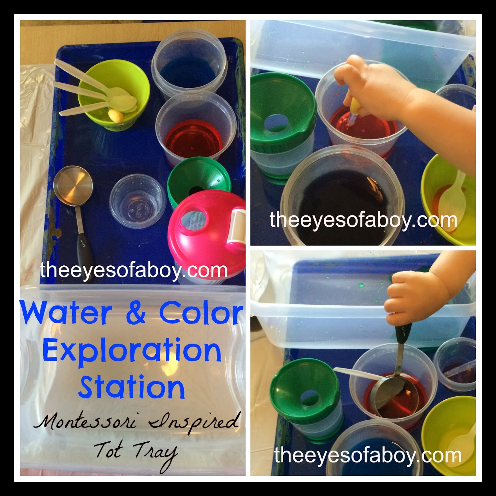 Water and Color Exploration Station - water sensory tray for toddlers and kids - Montessori inspired