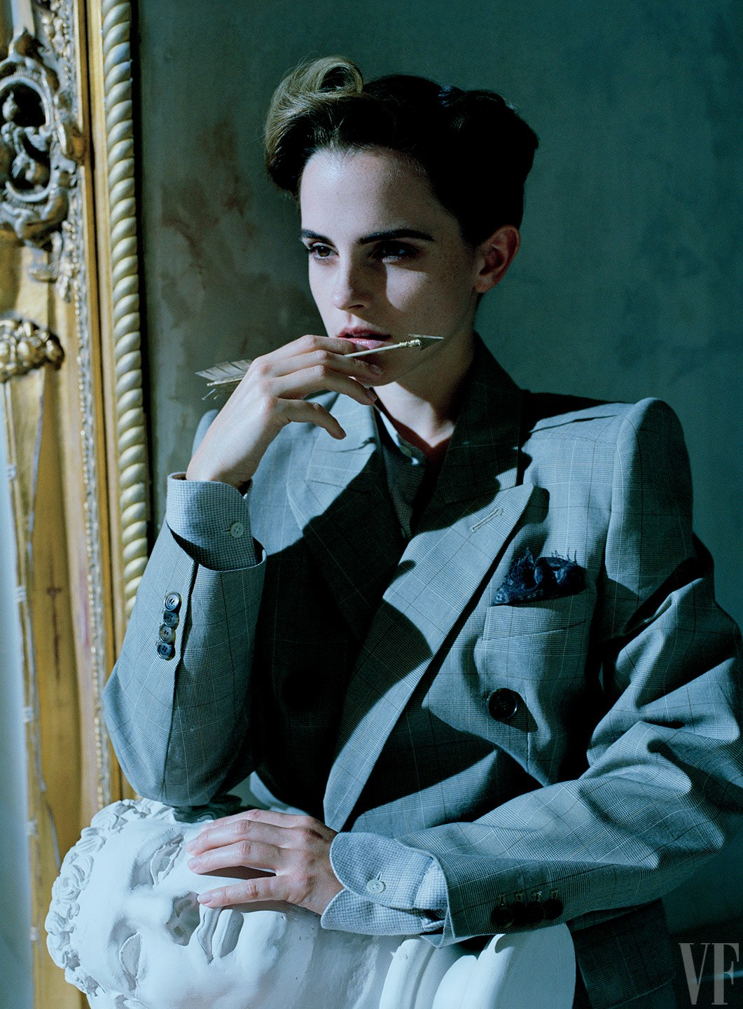 Emma Watson in a jacket by Balenciaga; shirt and pocket-square by Anderson & Sheppard.