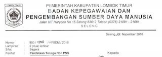 Pendataan Tenaga Non PNS di Lingkungan Pemerintah Kab. Lombok Timur