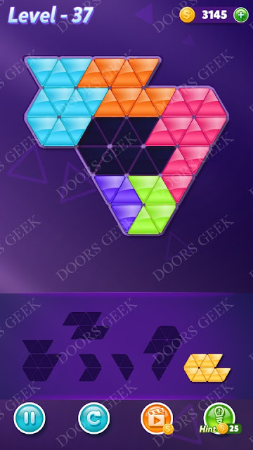 Block! Triangle Puzzle Intermediate Level 37 Solution, Cheats, Walkthrough for Android, iPhone, iPad and iPod