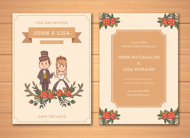 Wedding invitation in hand drawn style download