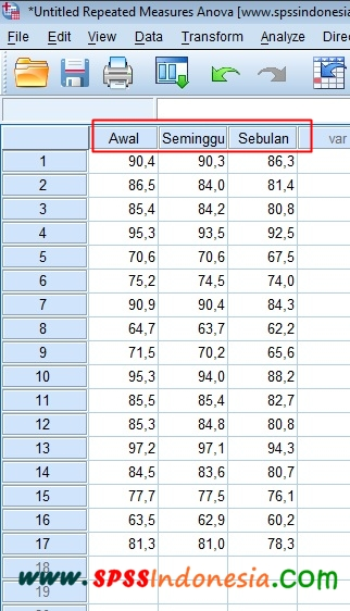 Memasukkan Data dalam Uji Repeated Measures Anova SPSS