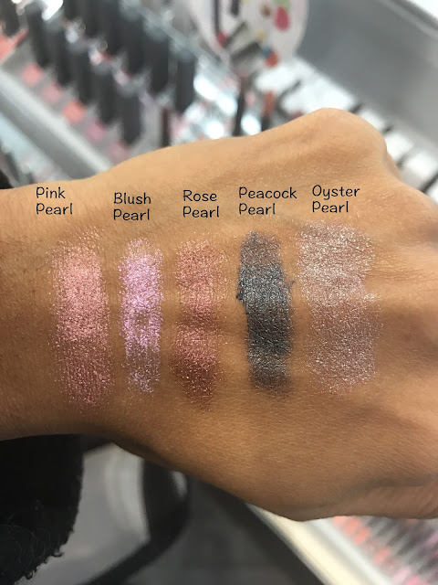 BITE Beauty Prismatic Pearl Multistick in Pink Pearl, Blush Pearl, Rose Pearl, Peacock Pearl and Oyster Pearl Swatches