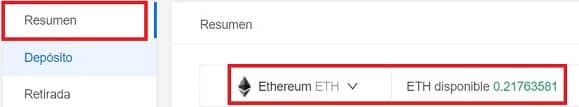 saldo ethereum para cambiarlo por criptomoneda Elixir ELIX