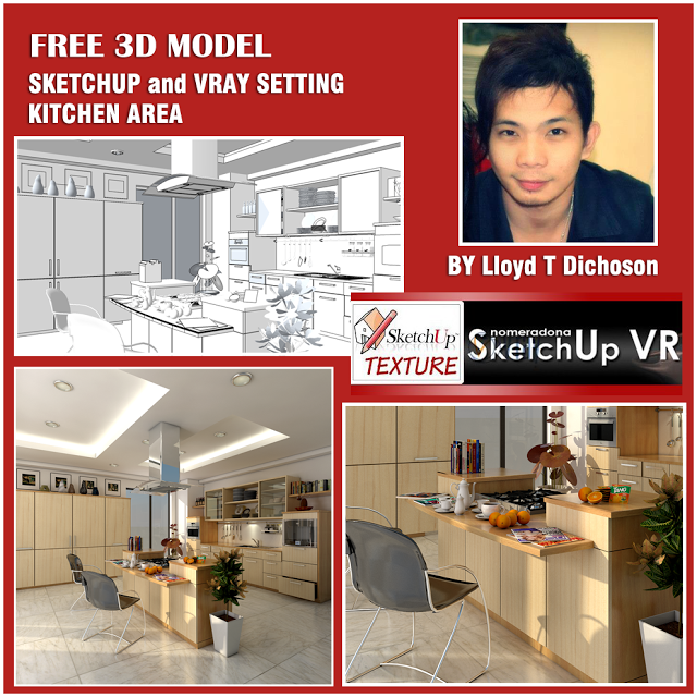 Maxwell 3D Resources: FREE SKETCHUP 3D SCENE KITCHEN AREA