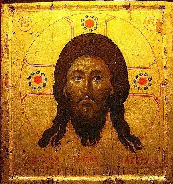 Réplica do Mandylion anterior ao ano 1249, conservada na catedral de Laon, França. O famoso ícone apresenta o rosto de Jesus com traços análogos ao do Santo Sudário