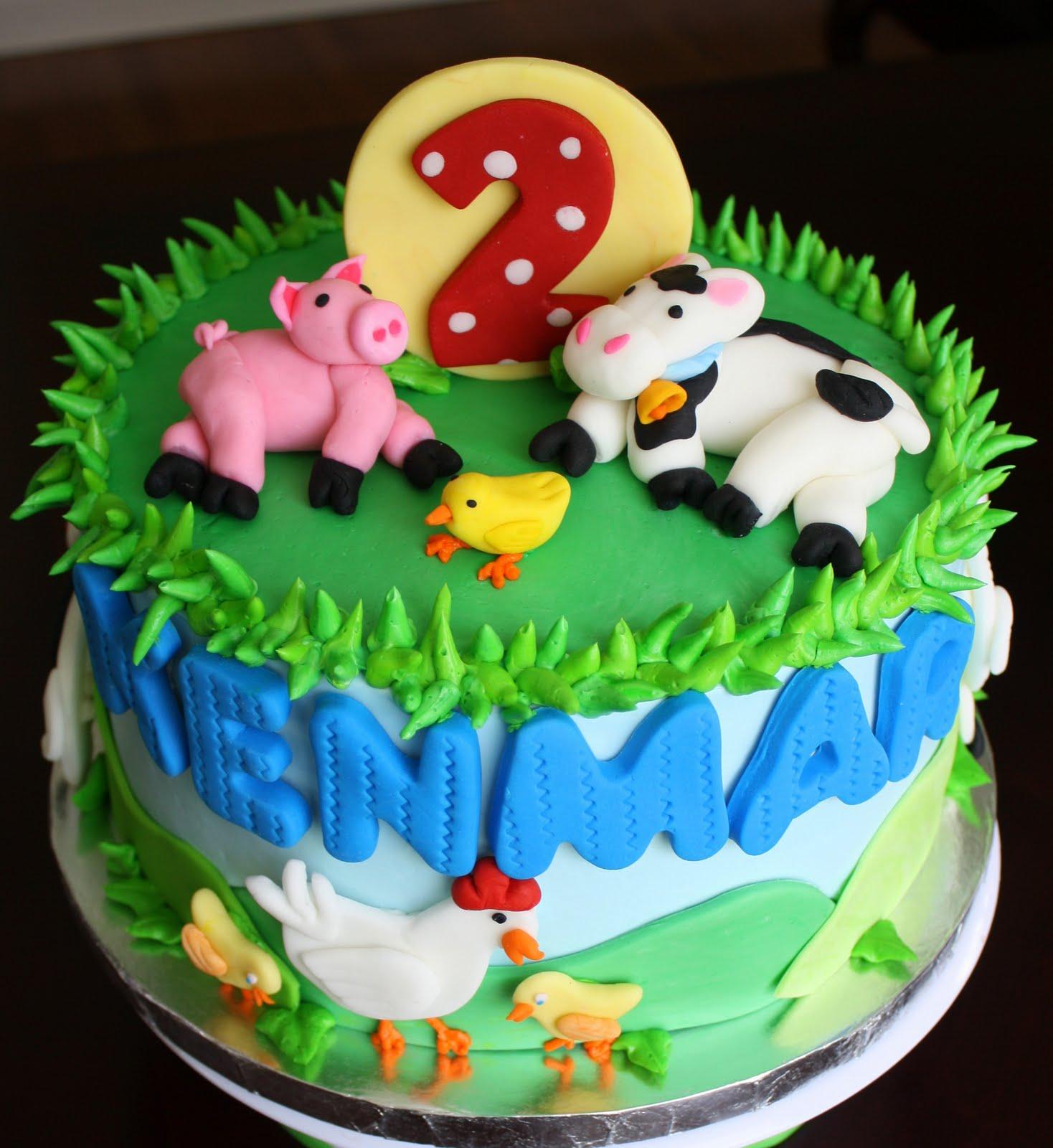 Claudine Farm Animal 2nd Birthday Cake And Cookies