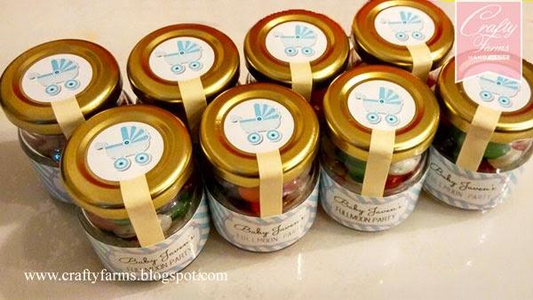 Cheap Wedding Door Gift Malaysia: Crafty Farms Handmade : Baby Boy Fullmoon Party Jelly Bean Favors