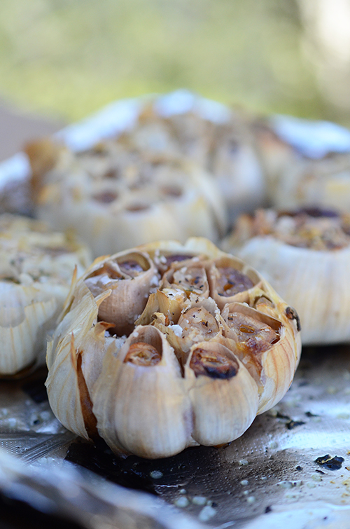 roasted garlic on grill, how to roast garlic, grilled garlic