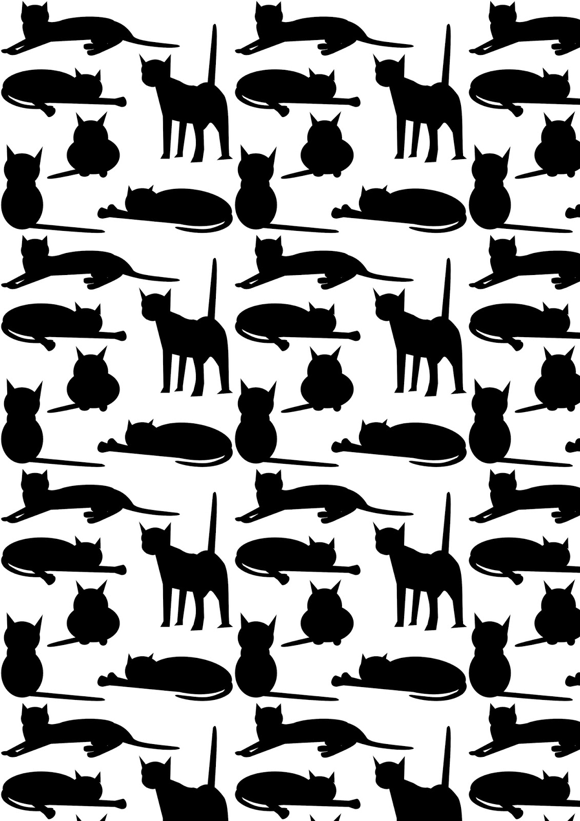 Free Cat Images: Free digital cat pattern - black and ...