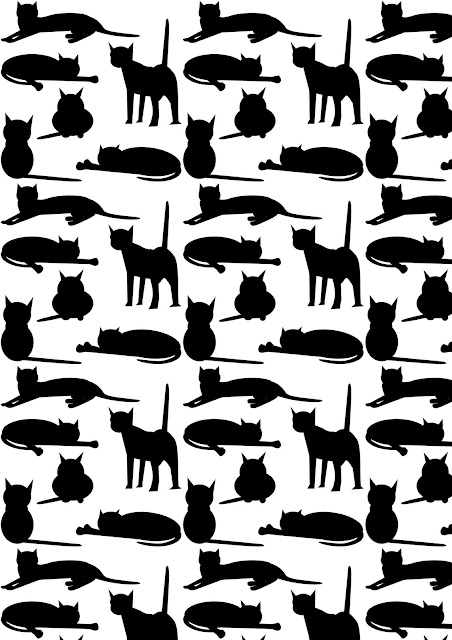 free cat images free digital cat pattern black and white colored cat pattern freebie. Black Bedroom Furniture Sets. Home Design Ideas