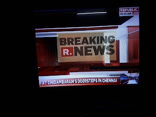 Image showing Screen Grab of Republic TV News Channel of ARG Outlier Media Private Limited of which Arnab Goswami is Managing Director in this article of rottenmangoman.blogspot.com on the quality of programs featured on the newly launched channel