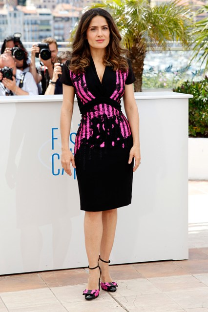Salma Hayek in a black and pink Bottega Veneta dress at Cannes 2014