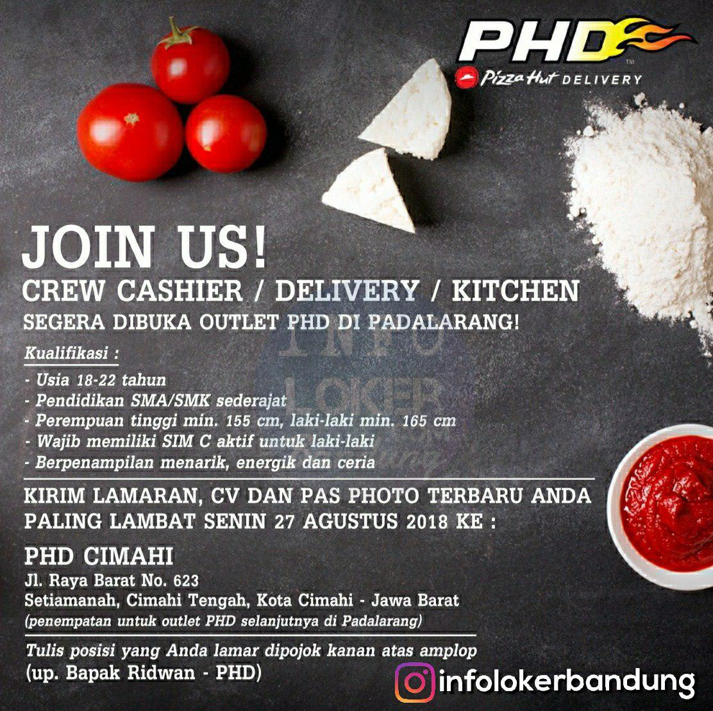 Lowongan Kerja Pizza Hut Delivery ( PHD ) Padalarang Bandung Agustus 2018