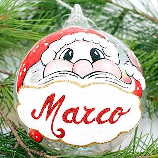 Pallina di Natale in vetro dipinta a mano e personalizzata con nome