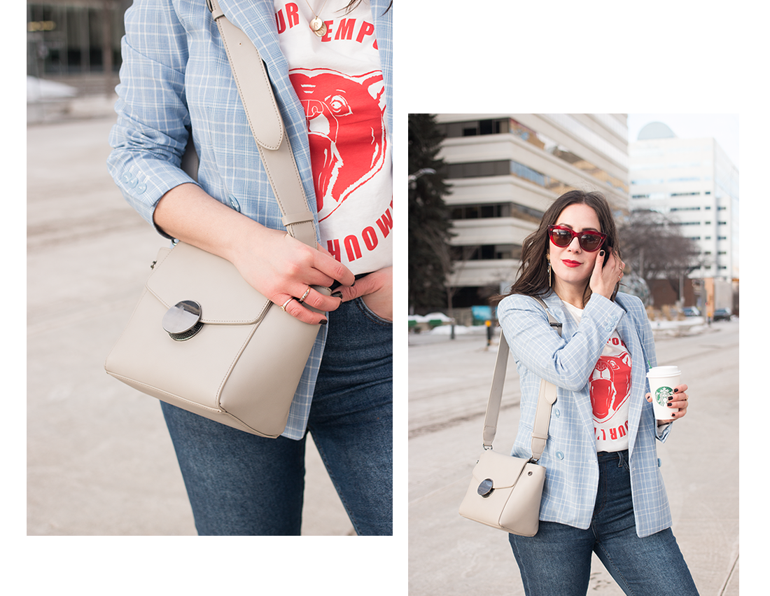 Pair a graphic tee with a blazer for effortless style