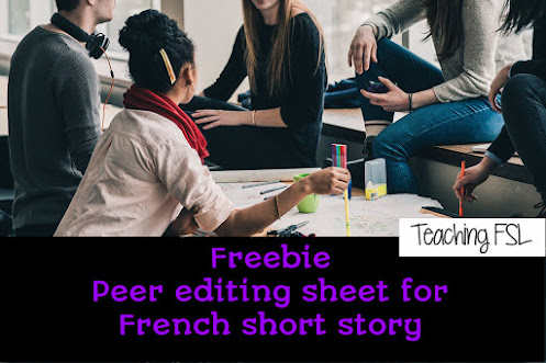 Image shows kids chatting in the classroom - Peer editing sheet for French short stories