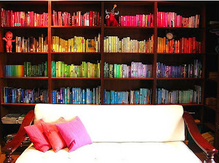 rainbow bookshelf 30 of the Most Creative Bookshelves Designs