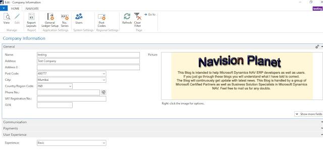 Company Page - Dynamics NAV 2017