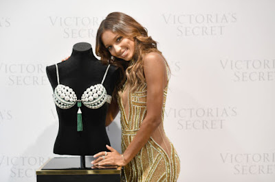 Jasmine Tookes and the $3 million Bright Night Fantasy Bra. Photo: Getty Images