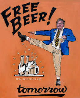 Chris Farley Free Beer by Boulder portrait artist Tom Roderick