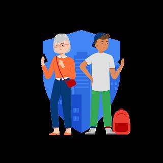 Eine Illustration von zwei Menschen mit Smartphones in der Hand