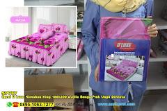 Sprei D Luxe Kintakun King 180×200 Avelia Bunga Pink Ungu Dewasa