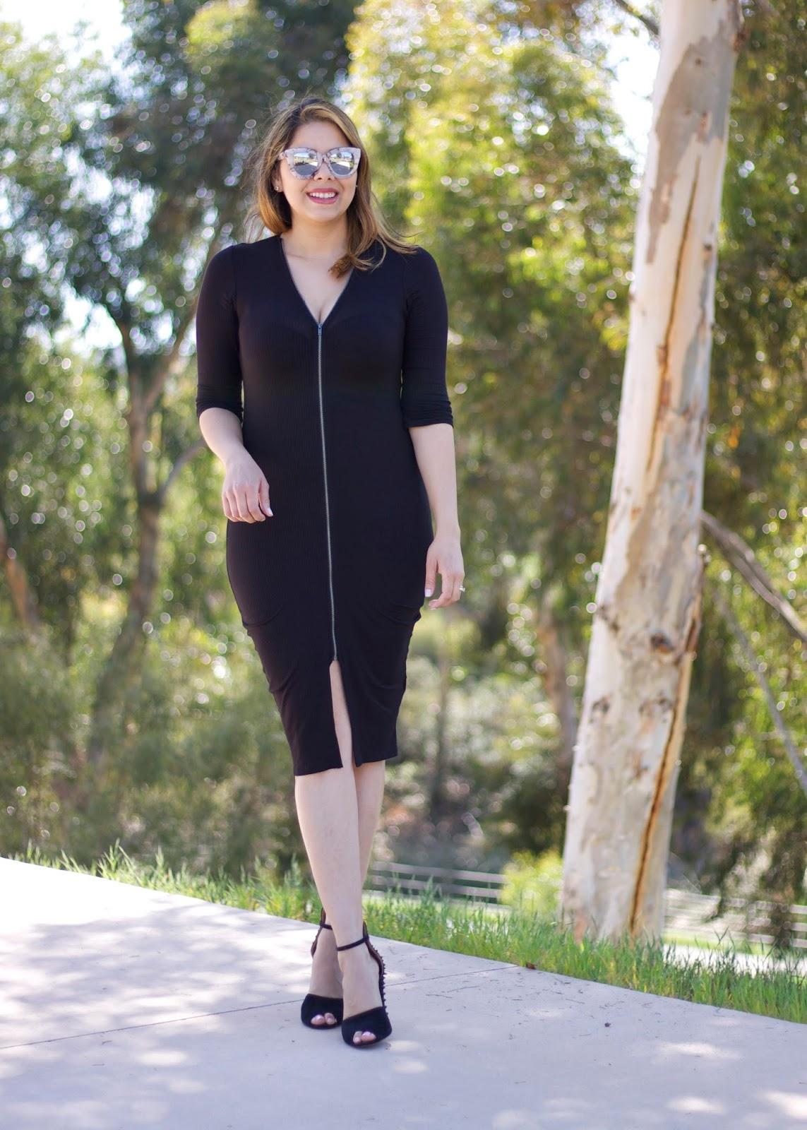 black midi dress, black dress with zipper in the middle, nicki minaj dress for less, celebrity dress for less