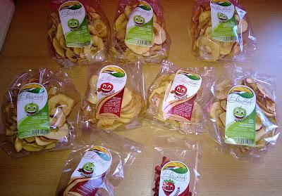 Apfel Chips, Schoko Apfel chips und Erdbeer Chips