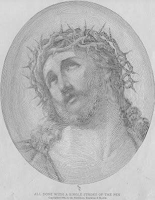 Gambar lukisan wajah seorang lelaki menggunakan pen dengan warna hitam putih.