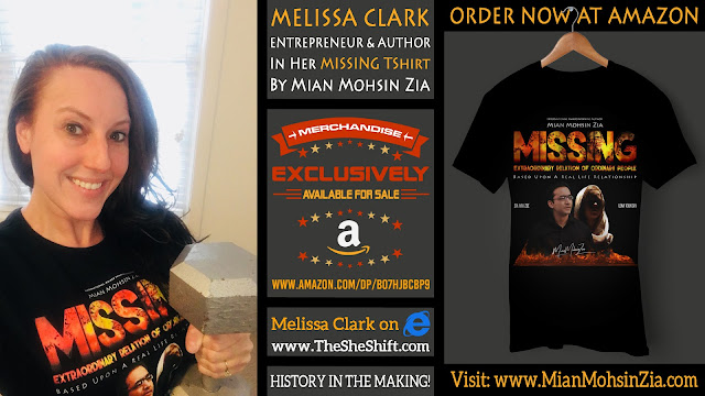Melissa Clark, Entrepreneur and Author in her Branded MISSING TShirt by Mian Mohsin Zia