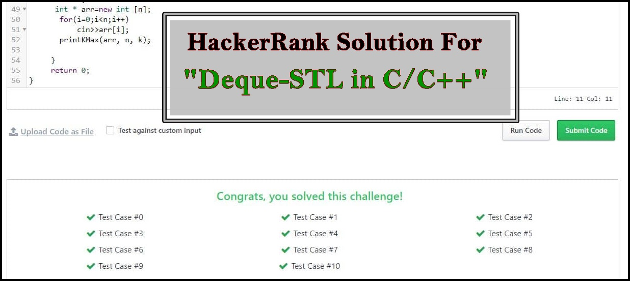HackerRank Solution For Deque-STL