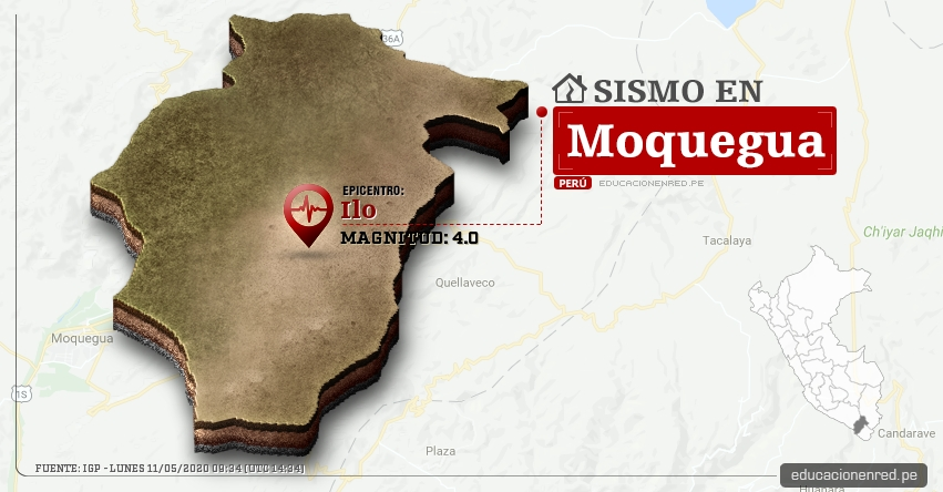 Temblor en Moquegua de Magnitud 4.0 (Hoy Lunes 11 Mayo 2020) Sismo - Epicentro - Ilo - IGP - www.igp.gob.pe