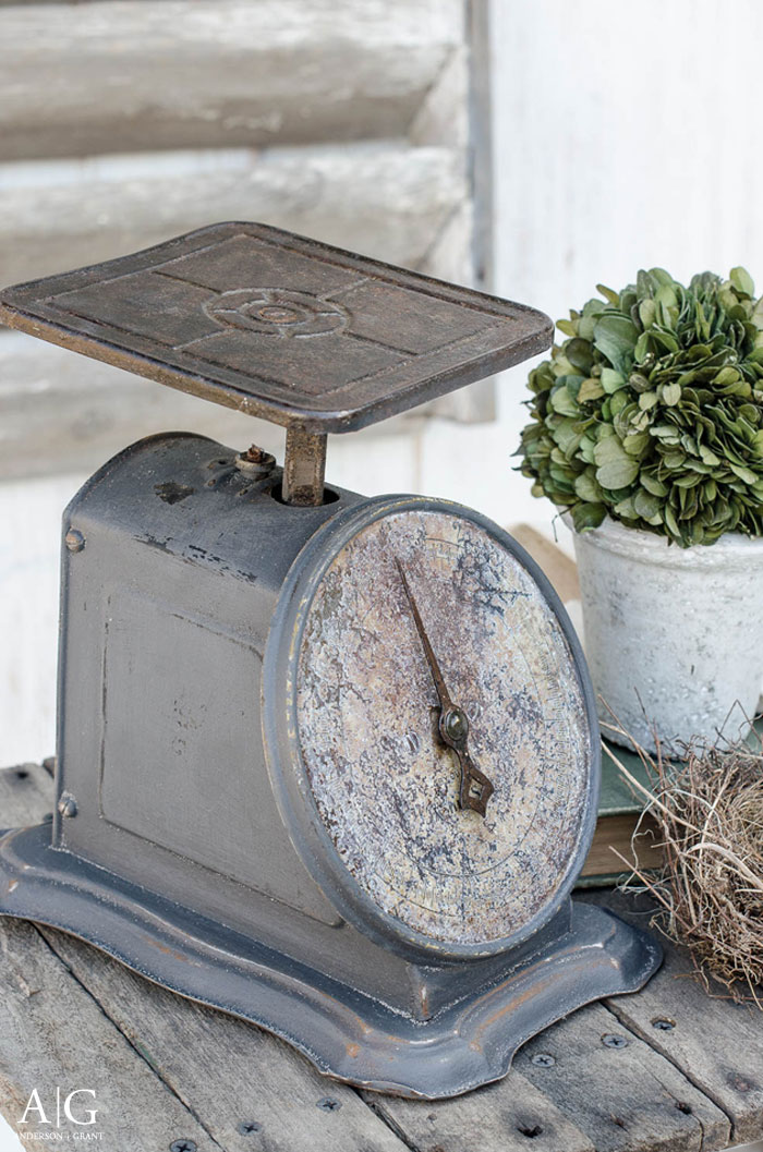 This stylish kitchen scale is what you get from painting a rusty antique.  |  www.andersonandgrant.com