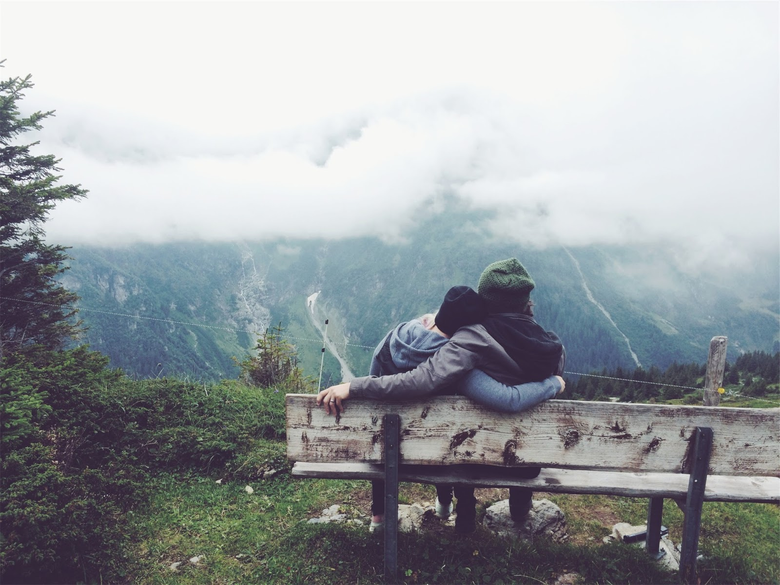 couple, love, romance, romantic, guy, girl, people, cuddling, bench, nature, outdoors, fog, clouds
