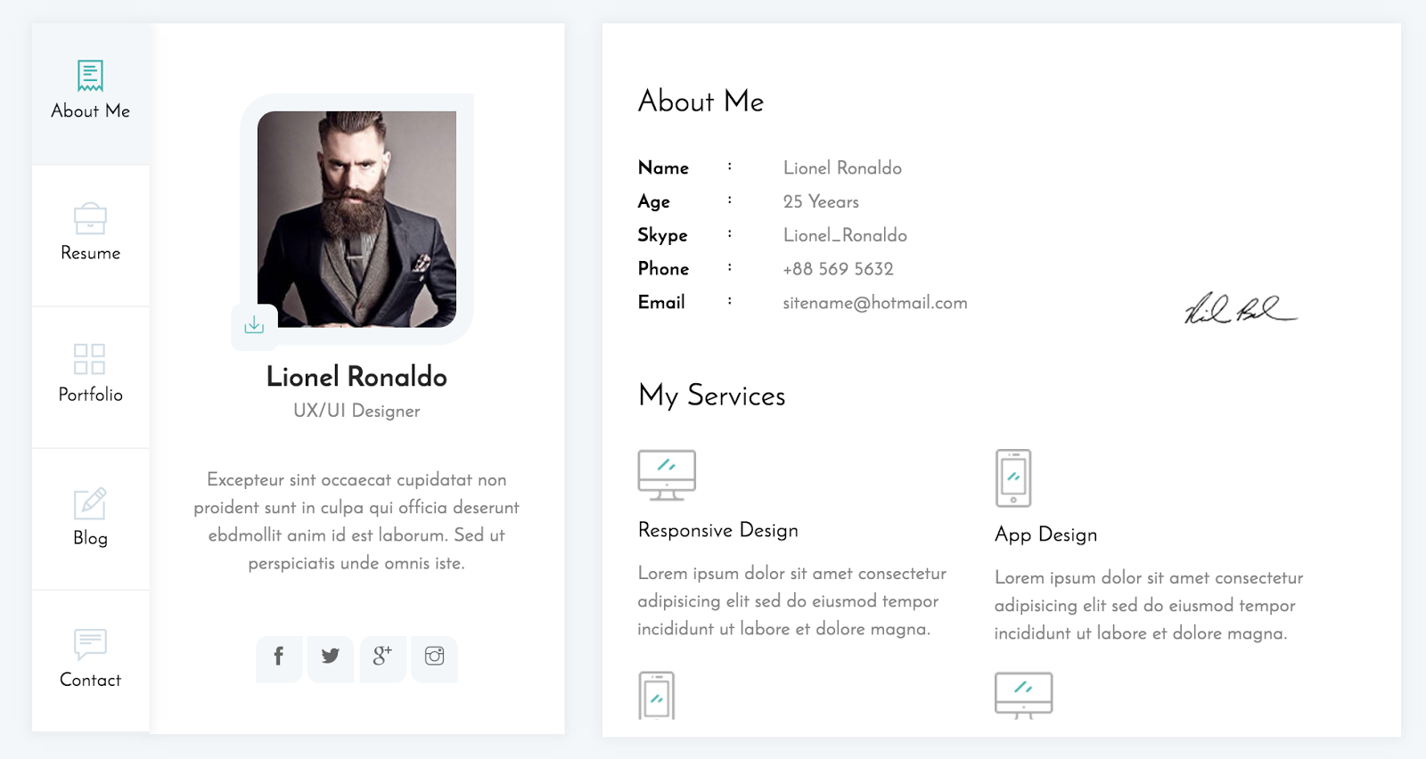 vcard html template nulled download