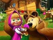 Have a great time playing this new Masha and the Bear game called Masha and the Bear House Decoration on GamesGirlGames.com.  First of all you will have to look for your cleaning products in the yard and retrieve them as well as some other objects. Find them all and then proceed to clean everything up. Use the gloves to gather every stray apple or piece of paper and throw them in the trash. Then use the rake to gather the leaves, use the broom to sweep the alley and then wash up the windows.