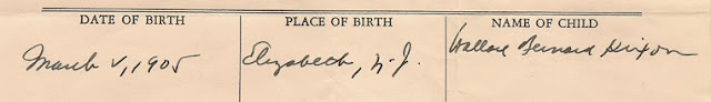 View of Birth Date (02Mar1905), Place (Elizabeth, N.J.), and Name (Wallace Bernard Dixon)  from delayed birth document for Wallace B. Dixon