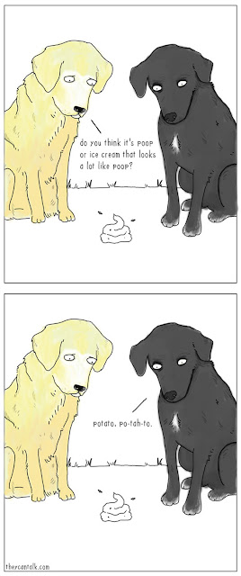 Dogs discussing the taste of poop