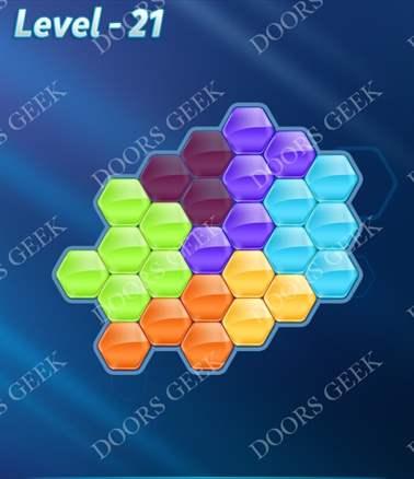 Block! Hexa Puzzle [6 Mania] Level 21 Solution, Cheats, Walkthrough for android, iphone, ipad, ipod