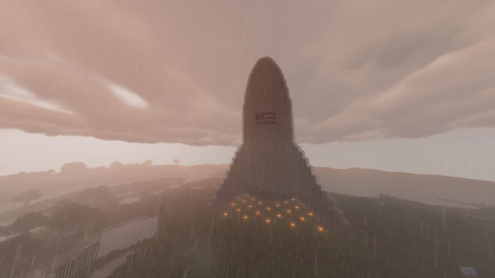 SpaceX Starhopper in Minecraft (rainy)