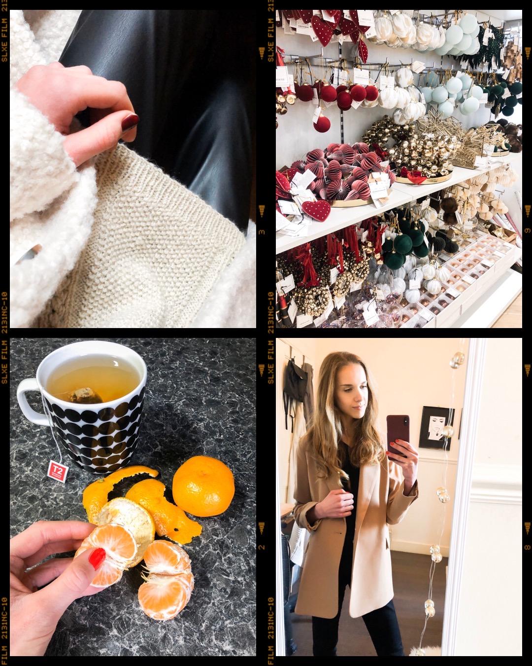 Autumn fashion textures, H&M Christmas decorations, Marimekko mug, satsumas, camel blazer Topshop - syysmuoti, H&M joulukoristeet, Marimekko Räsymatto muki, satsuma, kamelinvärinen bleiseri