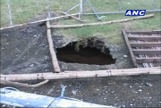 Sinkhole appeared in Purok Jalandoni, Barangay Oringao in Kabankalan City, Negros Occidental