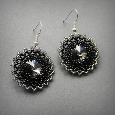 Черные бисерные серьги с кристаллами Swarovski россия интернет-магазин цена